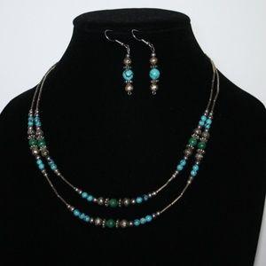 Vintage turquoise malachite necklace set